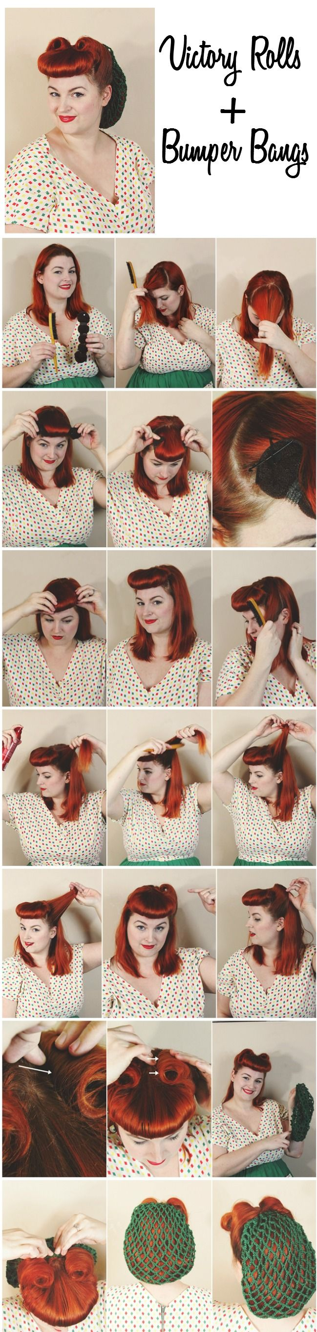 how to style retro pin up hair- victory rolls and faux bumper bangs with a 1940s hair snood net via va-voom vintage- Love this lady and her blog!!