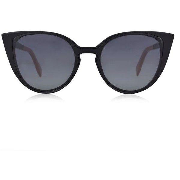 Fendi Tortoise Shell Cat Eye Sunglasses ($250) ❤ liked on Polyvore featuring accessories, eyewear, sunglasses, black, tortoiseshell glasses, cat-eye glasses, cateye sunglasses, tortoise cat eye glasses and metal sunglasses