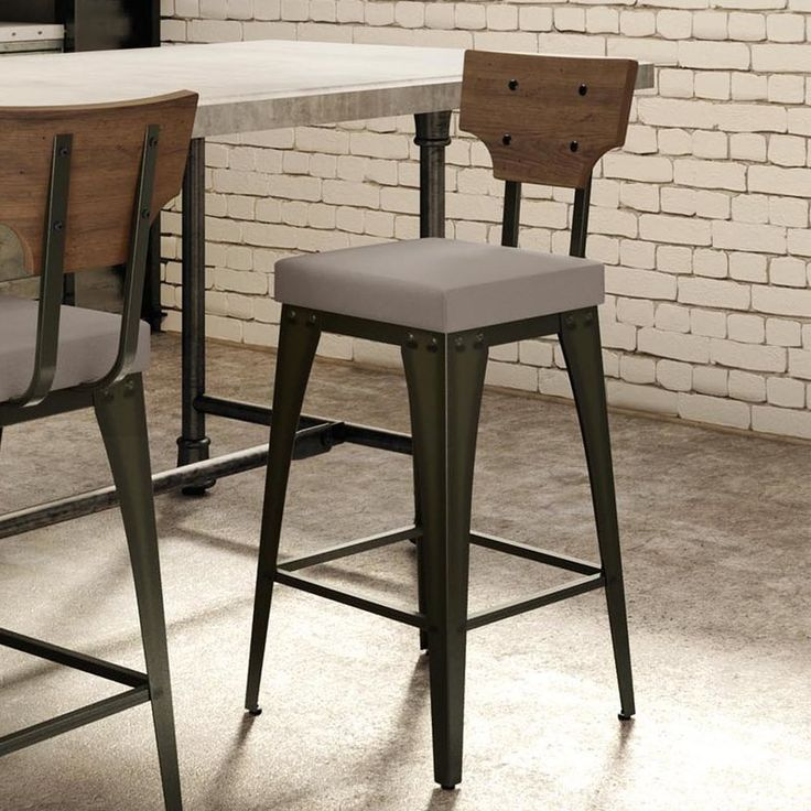 Elevate your entertaining ensemble in a pinch or simply round out your factory-chic space with the Coatbridge Bar Stool. Founded on a steel base with 4 studded bracket legs, its seat is wrapped in polyester upholstery while the low solid birch-finished wood back is adorned with nail head accents. Pull a few up to the kitchen island, then suspend a pair of metal pendants overhead and you're ready to serve up casual weeknight meals or gather friends for happy hour. This stool also brings di...