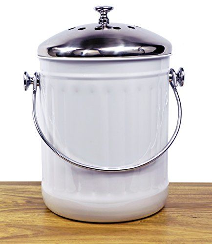 Amazon.com: +Sale+ Indoor Kitchen Stainless Steel Compost Bin - White - 1.2 Gallon Container with Double Charcoal Filter for Odor Absorbing - Perfect Caddy for Any Counter Top - Non Stick Bucket for Easy Tossing: Kitchen & Dining