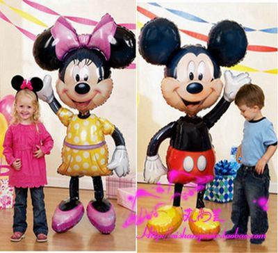 110*64 cm Kırmızı ilmek Mickey Minnie Mouse folyo Balonlar Klasik çocuk Oyuncakları Doğum Günü Parti Malzemeleri Büyük Boy Mickey balonlar