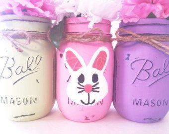 Set of 5 Easter Mason Jars Mason Jars by MidnightOwlCandleCo