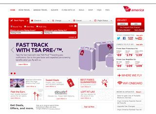 The most modern website for an airline that is out there. Virgin America has set a new bar transportation sites with a great HTML5 coded design, a one page step by step flight finder, and limited pages.