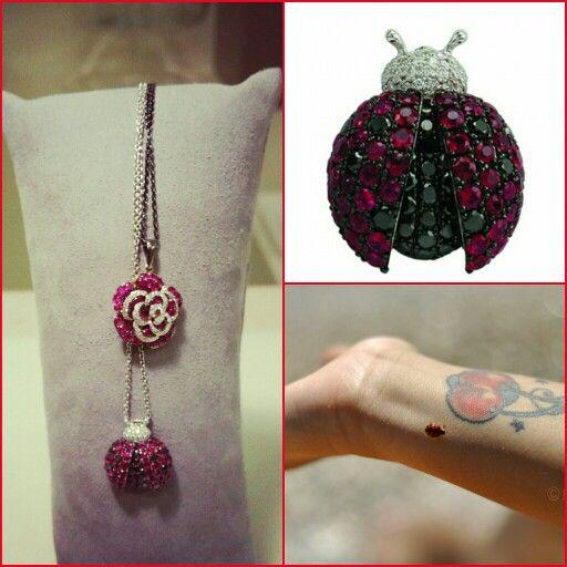 Coccinella e rosa in rubini e diamanti. Pippo perez