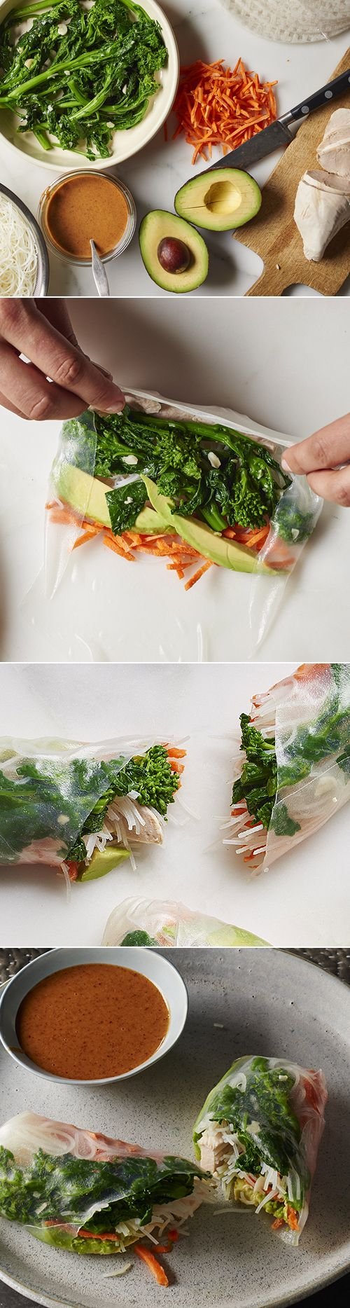 Broccoli Rabe Summer Rolls with simply poached chicken breast, thin and crunchy julienned carrots, creamy avocado, and slippery rice vermicelli.