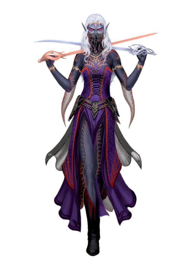 Female Noble Drow Cleric of Zura - Xaivanshee Rasivrein - Pathfinder PFRPG DND D&D 3.5 5th ed d20 fantasy