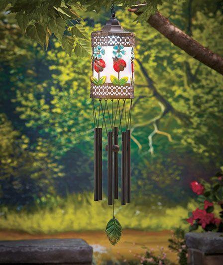 Solar Light Wind Chime Lady Bug Lantern Outdoor Hanging