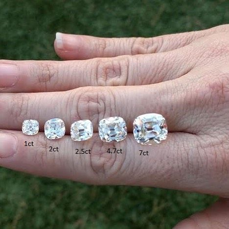 Antique cushion cut moissanite size comparison. How to choose?!?!? I know what I want! #antiquecushioncut #acc #moissanite
