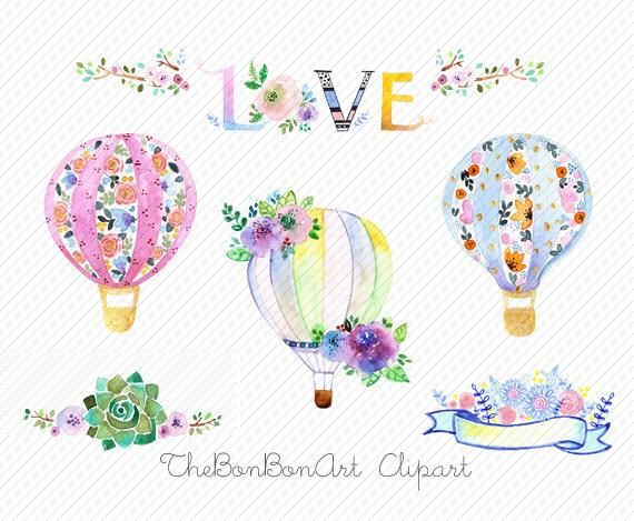 Watercolor Hot Air Balloons Clipart Watercolor Flower Etsy