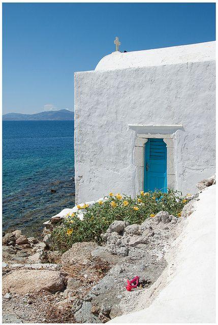 Old Rustic Mykonos _ Church with a beautiful view _ Mykonos is a Greek island.