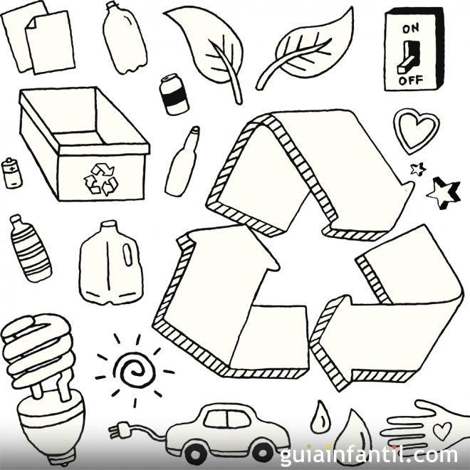 Dibujo Para Colorear Con Los Niños Sobre El Reciclaje Dibujos
