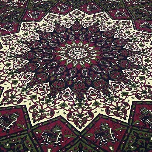 Popular Handicrafts Kp604 Star Hippy Elephant Mandala Psychedelic Tapestry Hippie Bohemian Wall Hanging Throw Cotton Bedsheet Wall Art Décor 84x90 Inches(215x230cms) By Popular Handicrafts