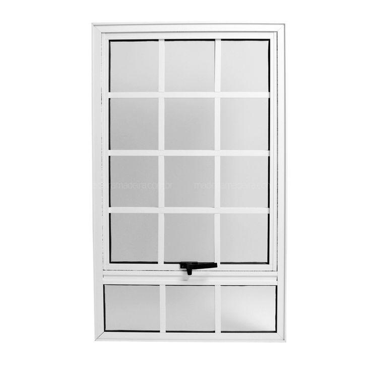 Janela Maxim-Ar Ebel Quadriculada em Alumínio 1,00mx60cmx5,1cm Simples com Bandeira Fixa com Vidro Mini Boreal Branca