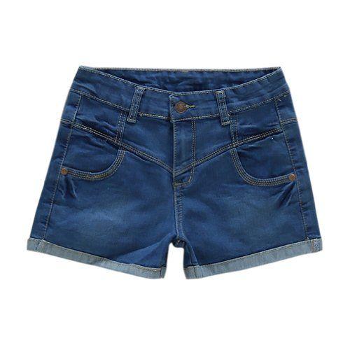 Womens High-waist Cuffed Shorts Jeans Denim Pants Asian Size 31 Pale Blue