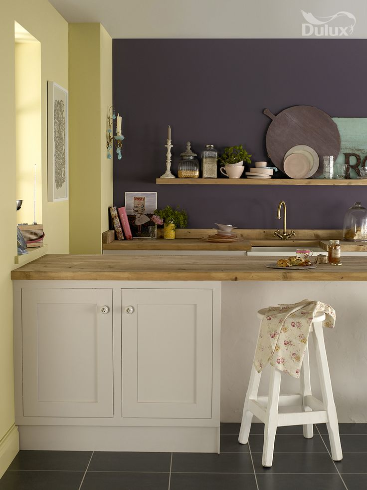 In a sunny space like this, a purple such as Plum Preserve can put a whole new spin on the room. Would you be brave enough to try out purple in your kitchen?