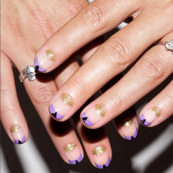 """18 Manicures To Copy, Stat!  #refinery29  http://www.static3.refinery29.com/negative-space-nails#slide-10  """"I'm obsessed with glitter, and while I know a lot of people feel it's too young [for them], you can make it more mature and interesting by adding just an accent,"""" says Torello. """"I love the idea of a double moon with negative space... The gold glitter here added a little something extra; then, at the very last minute, I added the black triangles to make it a little more interesting.""""..."""