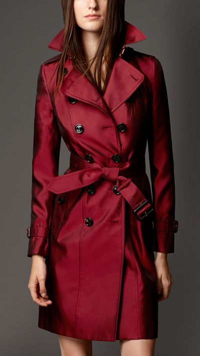 Red silk Blend Trench Coat