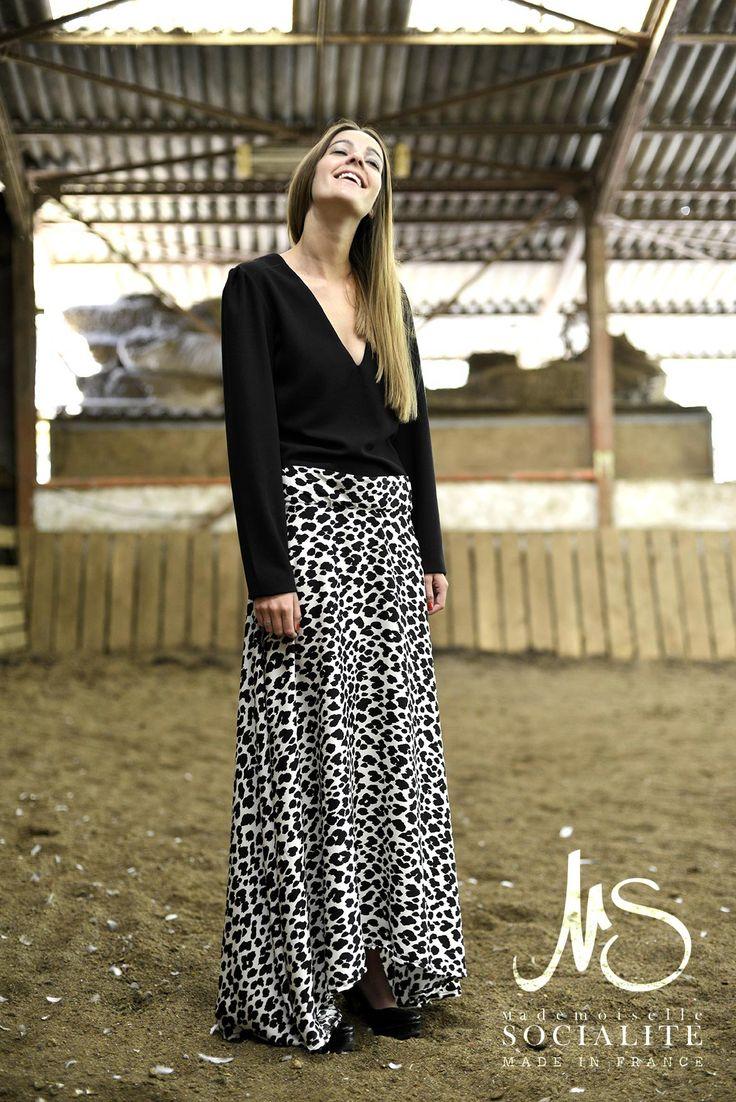 Robe Claudia  Léopard / leo / satin / crepe / black / glamour /dress
