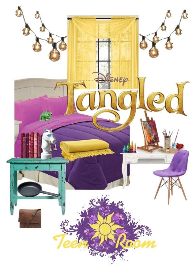 Disneyhome- Tangled inspired teen bedroom by bijouxetsoirees on Polyvore featuring interior, interiors, interior design, home, home decor, interior decorating, Zuo, Shabby Chic, Chic Home and Serafino Zani
