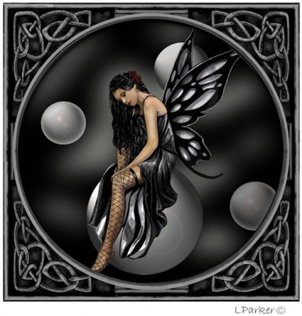 Dark Fairy Tattoos | Gothic Fairy On Bubbles Blank Greetings Card By Lisa Parker Design ...