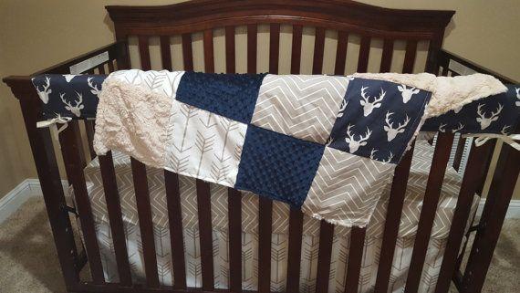 Baby Boy Crib Bedding  Navy Buck Ecru Chevron by DesignsbyChristyS