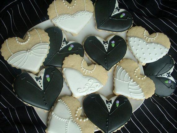Wedding Cookies  Bride and Groom Heart cookies  by SweetArtSweets