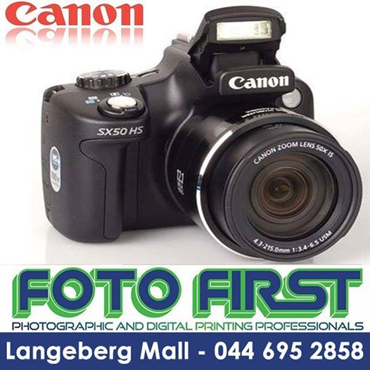 #Canon #Powershot #SX50 Camera kit including a Lowerpro Bag and an 8GB Ultra II memory card. Amazing 50x Wide Optical Zoom (24 - 1200mm). Now available at Fotofirst Mosselbay.