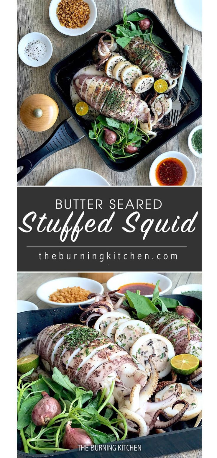 Steam-Grilled Stuffed Squid: The steam-grill method gives you the best of both worlds - thetendernessand flavour infusion from steaming, and the smoky bbqflavours from grilling! This delicious squid dish is literally packed with surprises inside out!