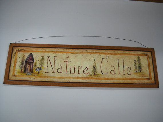 Nature Calls wooden country outhouse Bathroom wall art sign cabin bath decor lodge bears