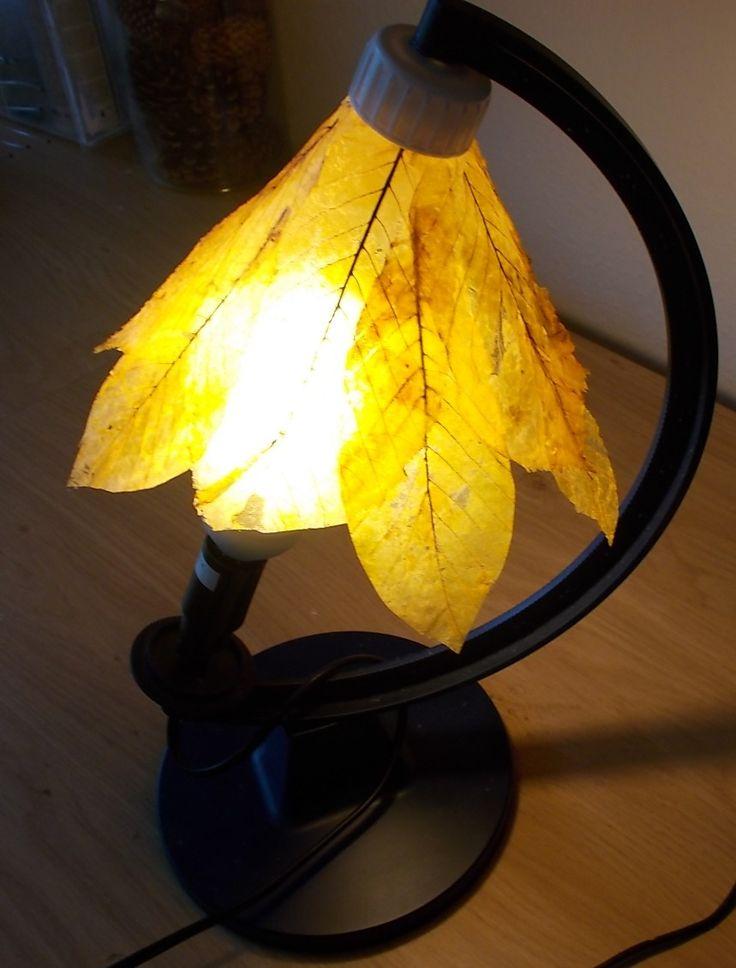 абажур для настольной лампы из скелетированных листьев