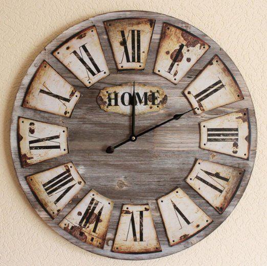 Quarzo Orologio da parete in legno Casa Loft guardare 84602 D-58 centimetri orologio Designuhr Vintage Shabby EURO 59,90