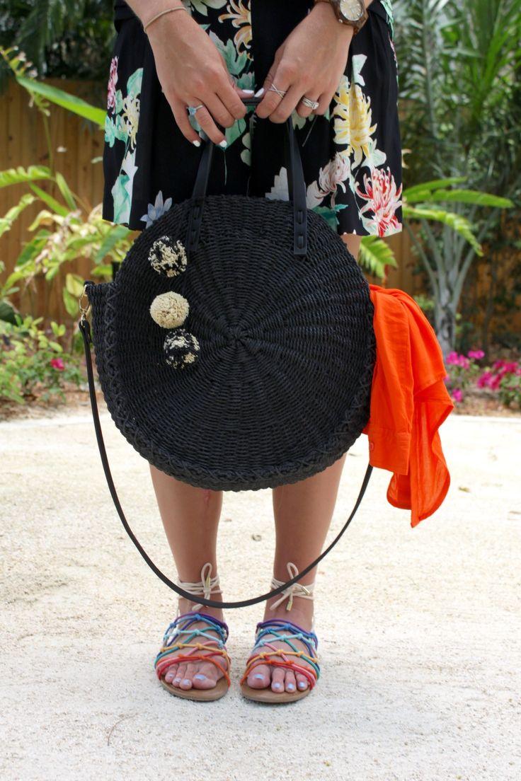 round black woven bag