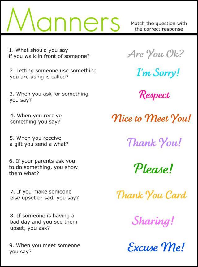 manners matching worksheet