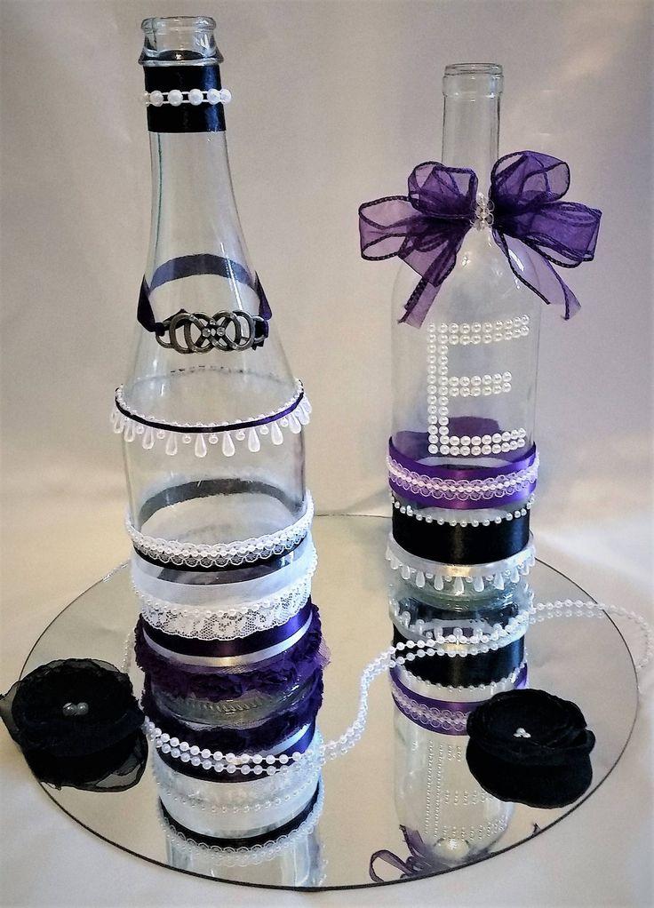 Decorative Wine Bottle, Wedding Centerpiece, Personalized Wedding Centerpiece, Personalized Wine Bottle by MorninggloryWeddings on Etsy