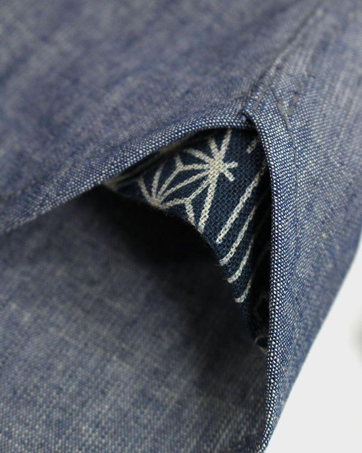 Long Sleeve Button-Up Katazome Blue Chambray Shirt, Multi