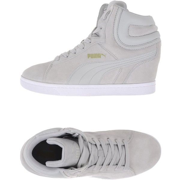 Puma High-tops & Trainers ($69) ❤ liked on Polyvore featuring shoes, sneakers, light grey, leather high tops, leather hi top sneakers, hi tops, puma sneakers and hi top wedge sneakers
