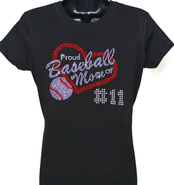 Proud Baseball Mom Rhinestone Bling T-shirt - Add Your Player's Number on Etsy, $22.99