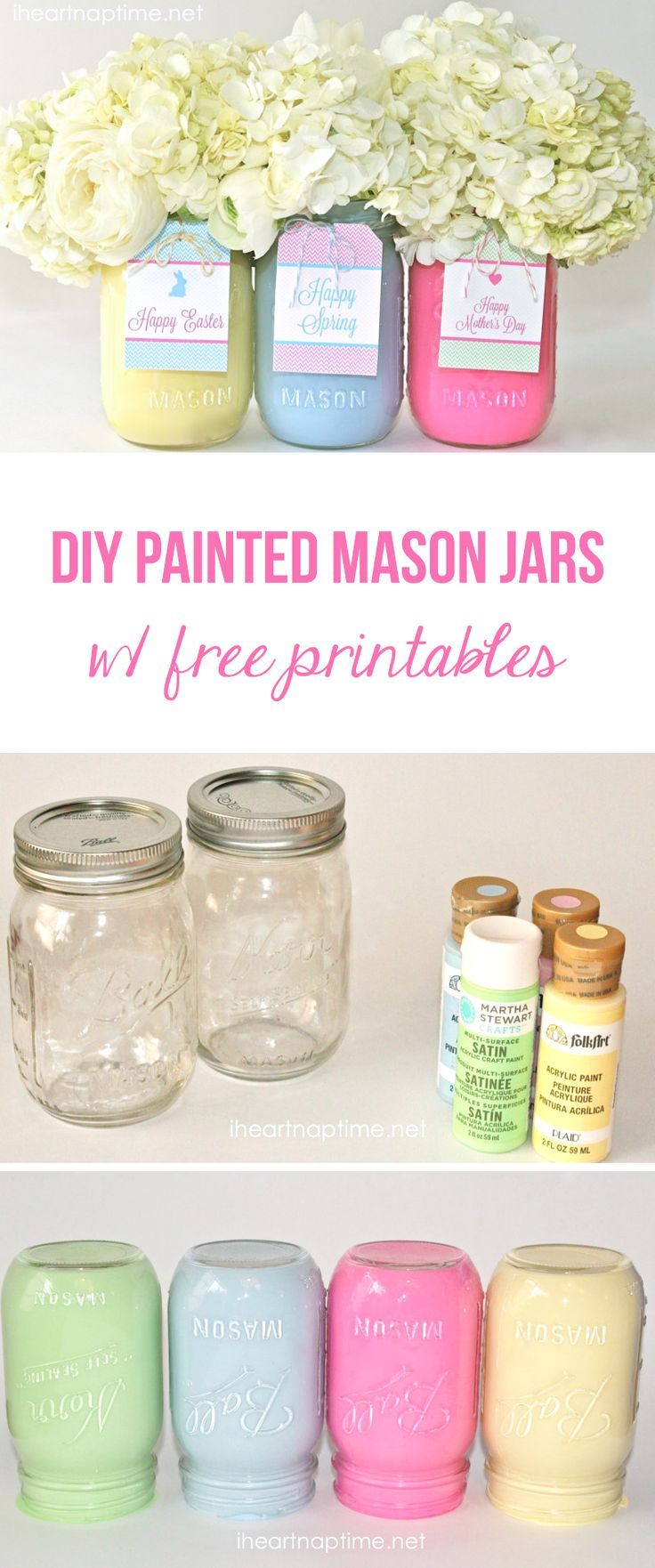 DIY painted mason jars with free tags -these make a cute and inexpensive gift for Easter or Mother's Day!