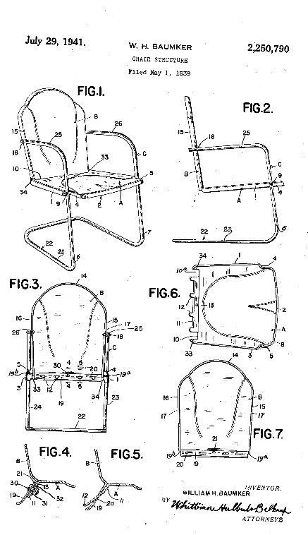 1939 Patent Of The Hettrick Vintage Metal Lawn Chair.