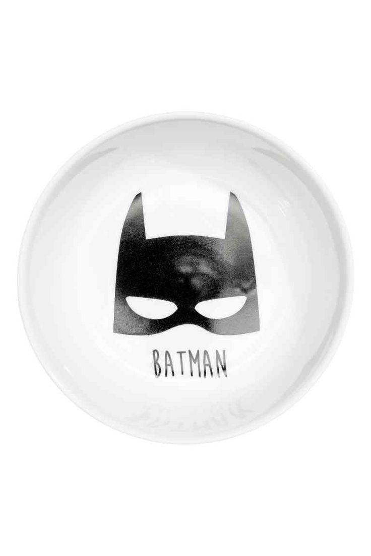 Petit bol en porcelaine - Blanc/Batman -   H&M FR