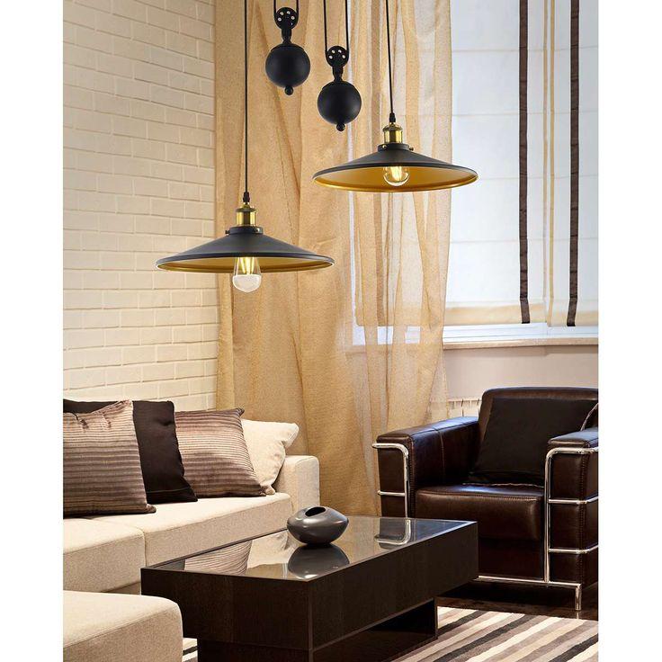 LAMPA wisząca SWEDEN 2 FB7024 BK Azzardo metalowa OPRAWA zwis czarny