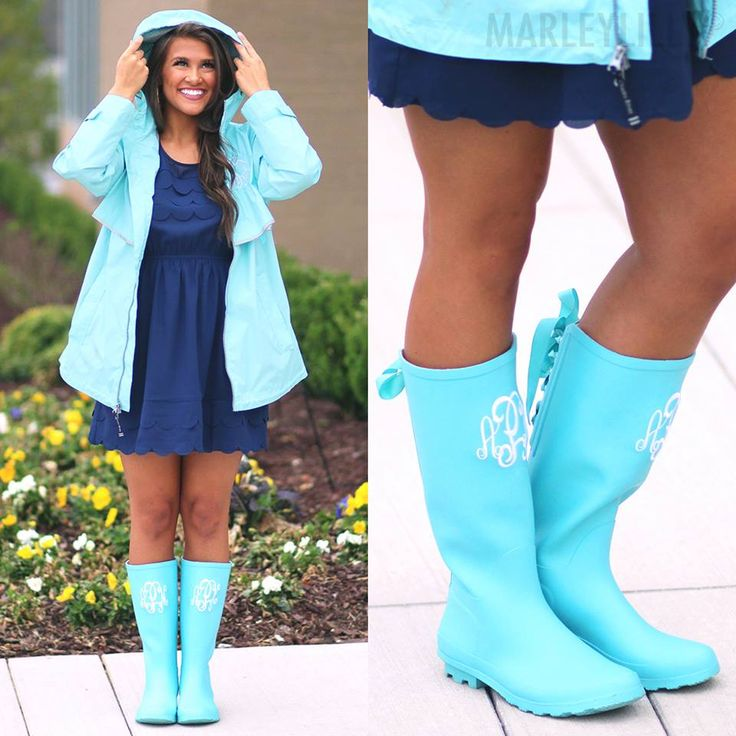 Cute Rainy Day Outfit with Baby Blue Rain Boots