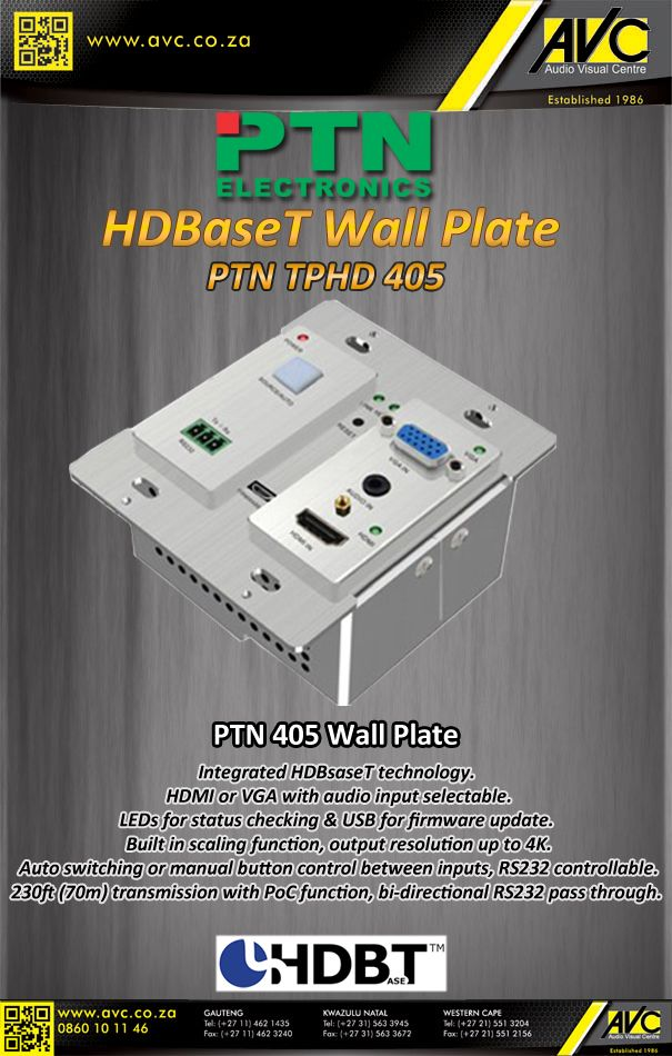 The PTN 405 HDBaseT wall plate
