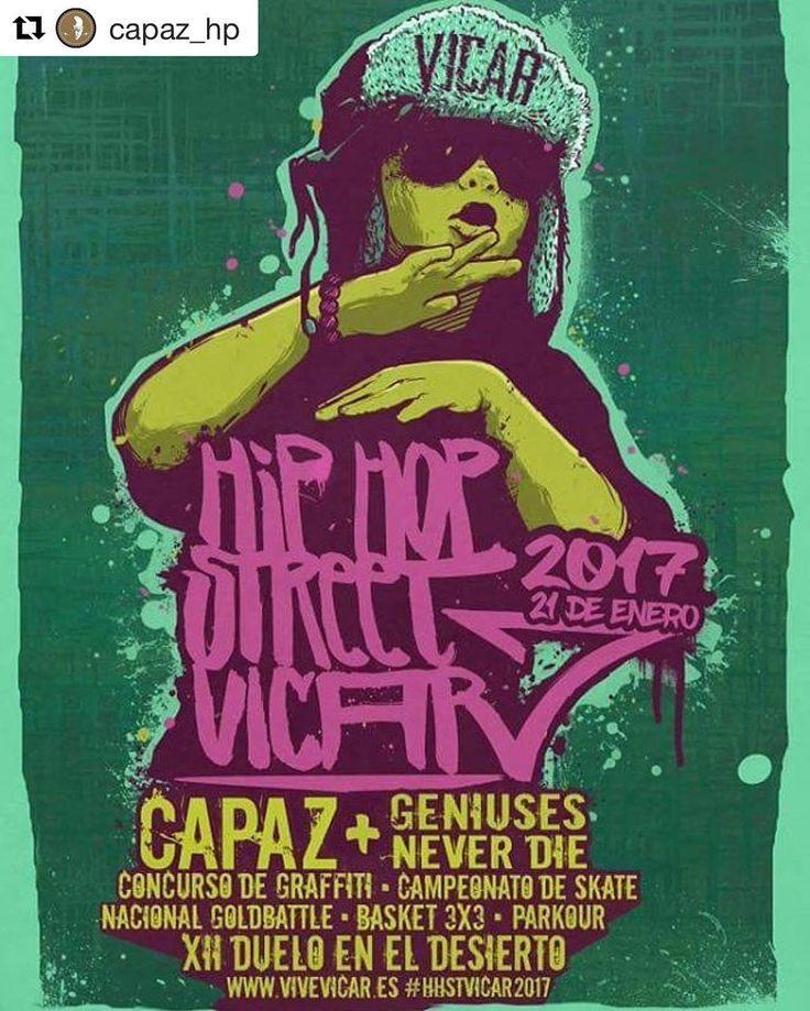 Mañana hay fiesta!!   #Repost @capaz_hp with @repostapp  El Sábado tenemos una cita con la gente de Vicar (Almería) Festival #HipHopStreetVicar2017 #Capaz en concierto por la noche y durante el día un montón de diferentes actividades y géneros ( #breakdance #basket3x3 #parkour #DueloEnElDesierto #skateboard #grafittiart #ConcursoDeGrafitti #NationalGoldbattle ) Entrada Gratuita @mad91familia @bighozone @boamusic @sinakens @jaydeelay @urugalinha_eq @geniuses_never_die toda la información en…