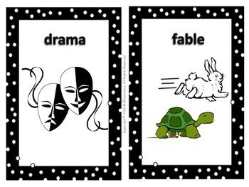 Literary Genre Word Wall - This is a set of 16 literary genre word wall cards for a word wall or bulletin board that you can use while studying literary genres.
