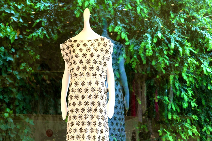 An Alice + Olivia dress surrounded by greenery