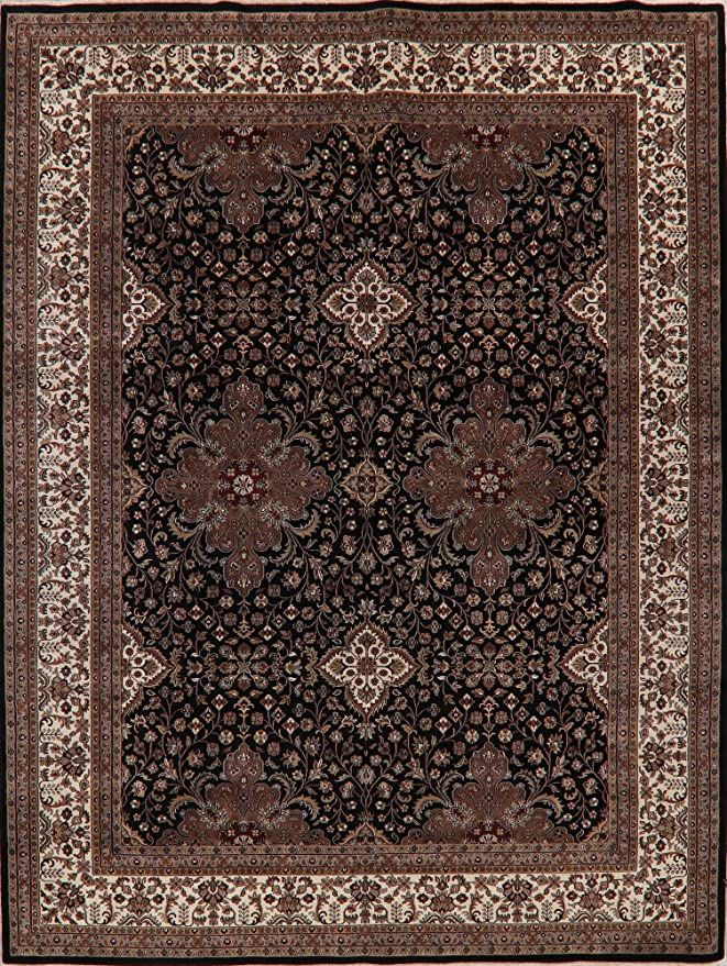 Black Agra Oriental Area Rug Handmade Wool All Over Floral Carpet 9 X 12 New In 2020 Floral Carpet Handmade Area Rugs 9x12 Area Rugs