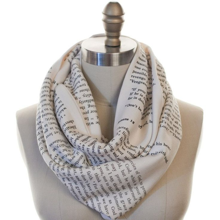 Wrap up with a good Book Scarf! Our one-of-a-kind infinity scarves now with the Bible, Romans Chapter 12. This Storiarts Book Scarf is handmade from American-made, cream-colored 100% cotton jersey kni