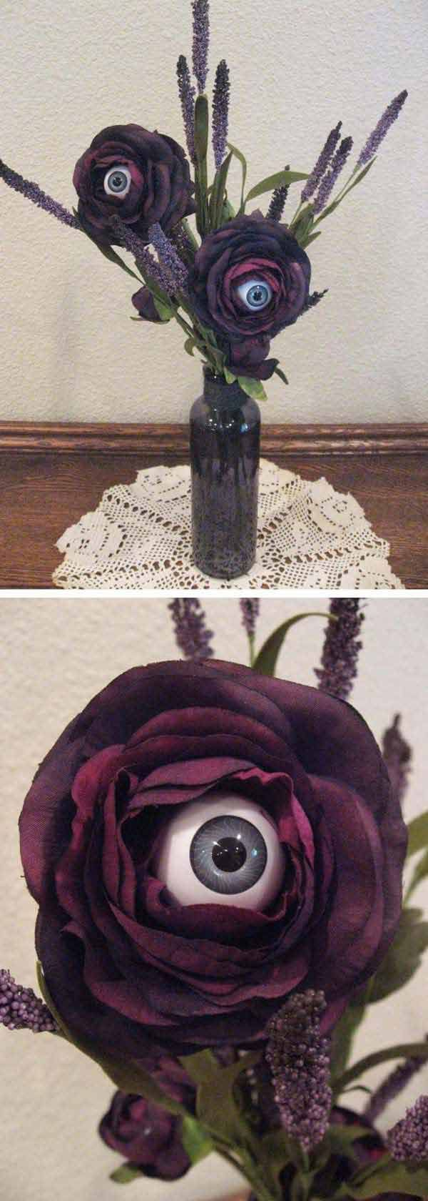 Eyeball Flower - 42 Last-Minute Cheap DIY Halloween Decorations You Can Easily Make