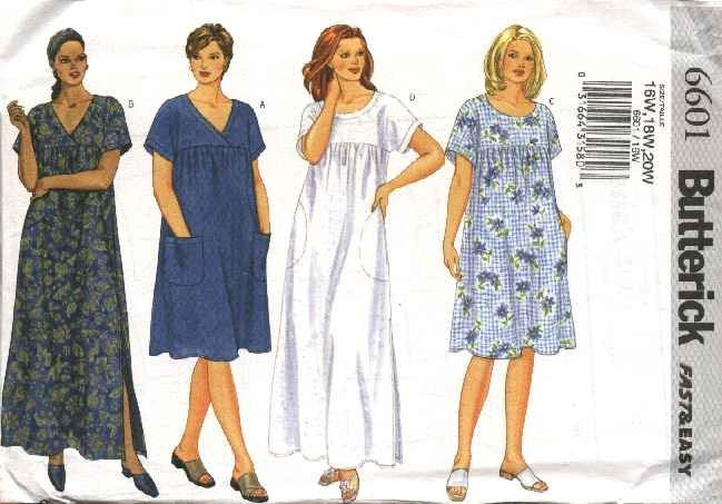 Butterick Sewing Pattern 6601 Womans Plus Size 28W-32W Easy Loose Fitting Summer Dress MuuMuu  --  Need a different size or pattern? Check out our store www.MoonwishesSewingandCrafts.com for 8000+ uncut sewing patterns all sizes and styles!